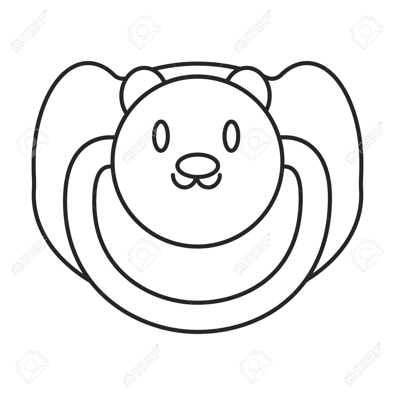 Dummy pacifier vector outline icon. Vector illustration baby on white background. Isolated outline illustration icon of baby dummy pacifier. - 168840965