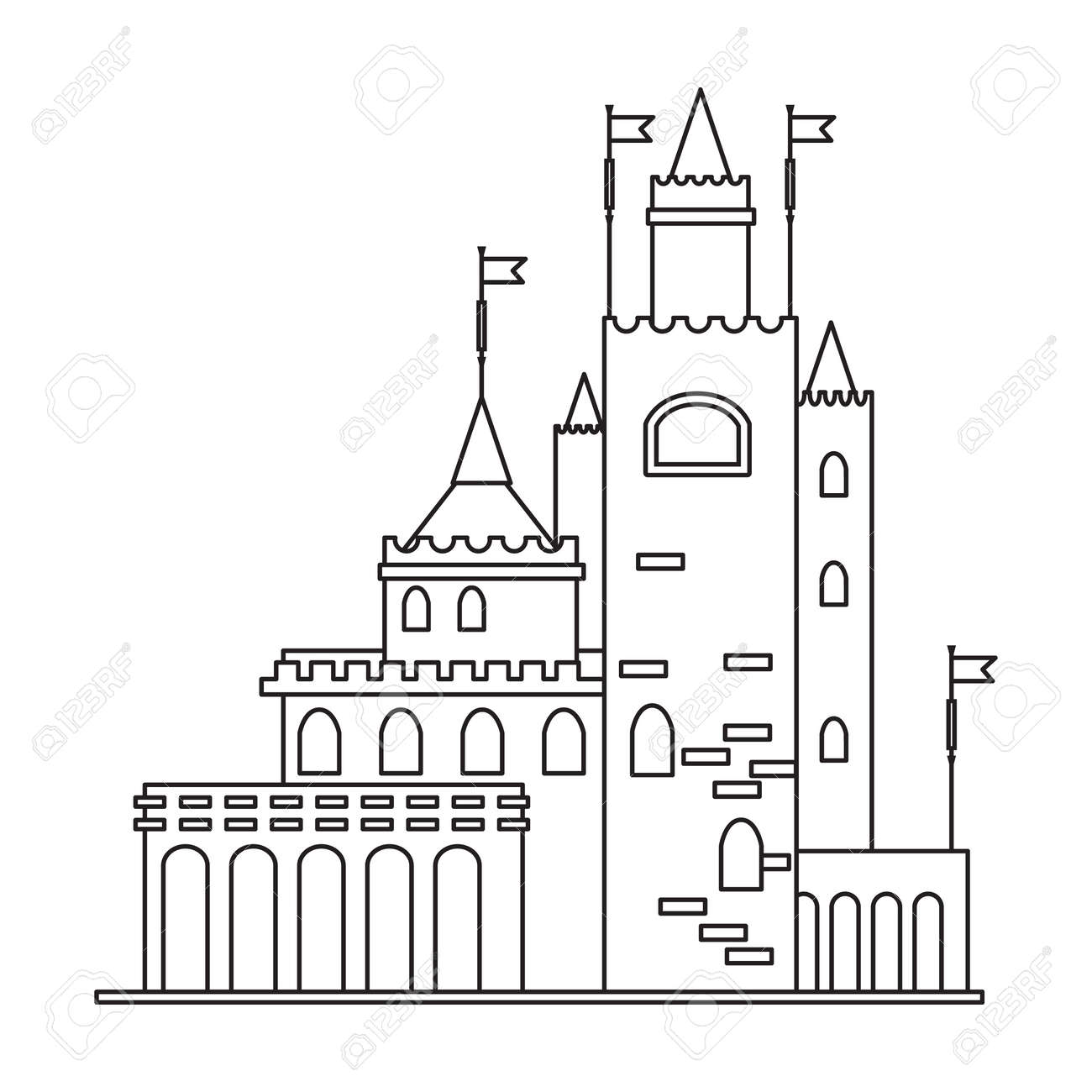 Castle tower vector outline icon. Vector illustration castle tower on white background. Isolated outline illustration icon of kingdom house. - 168841028