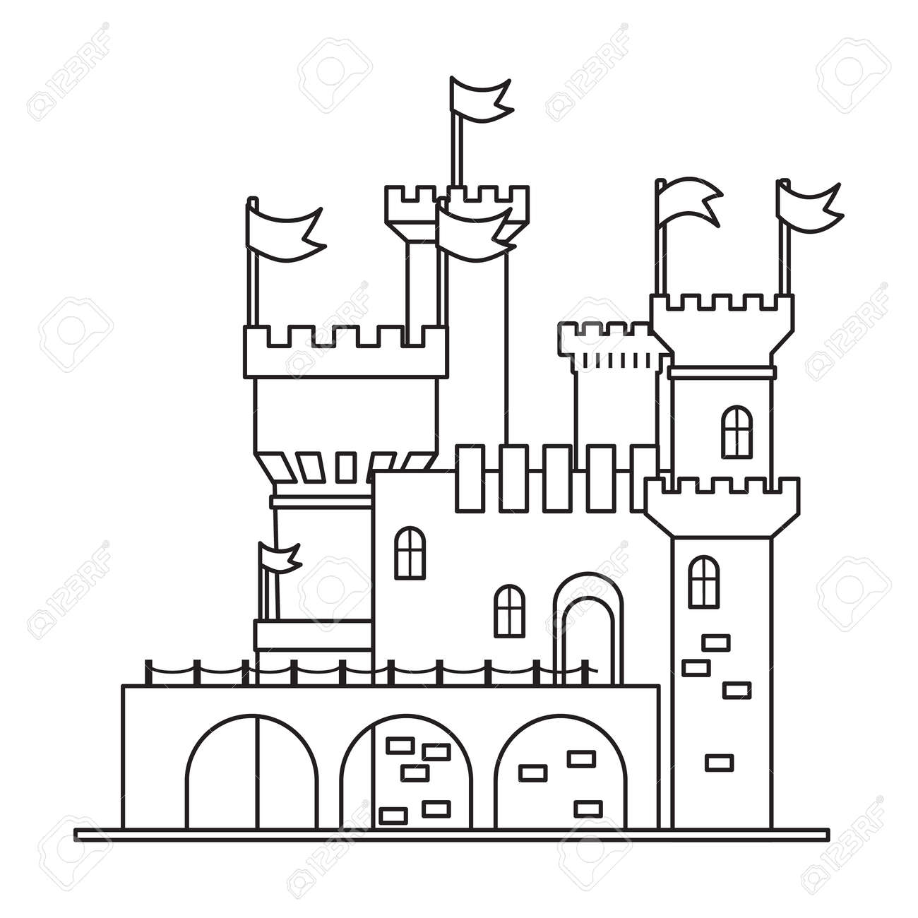 Castle tower vector outline icon. Vector illustration castle tower on white background. Isolated outline illustration icon of kingdom house. - 168841033