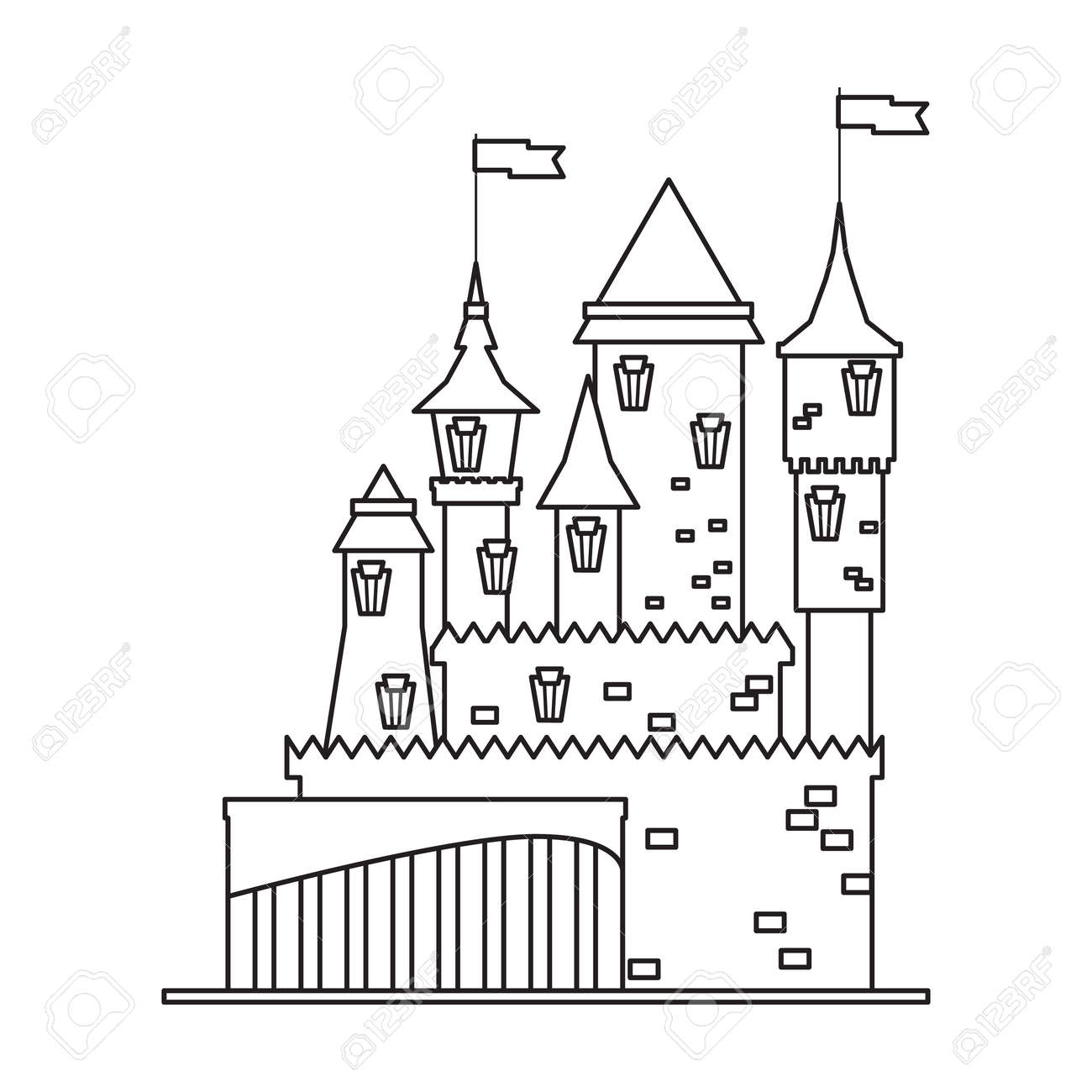 Castle tower vector outline icon. Vector illustration castle tower on white background. Isolated outline illustration icon of kingdom house. - 168841035