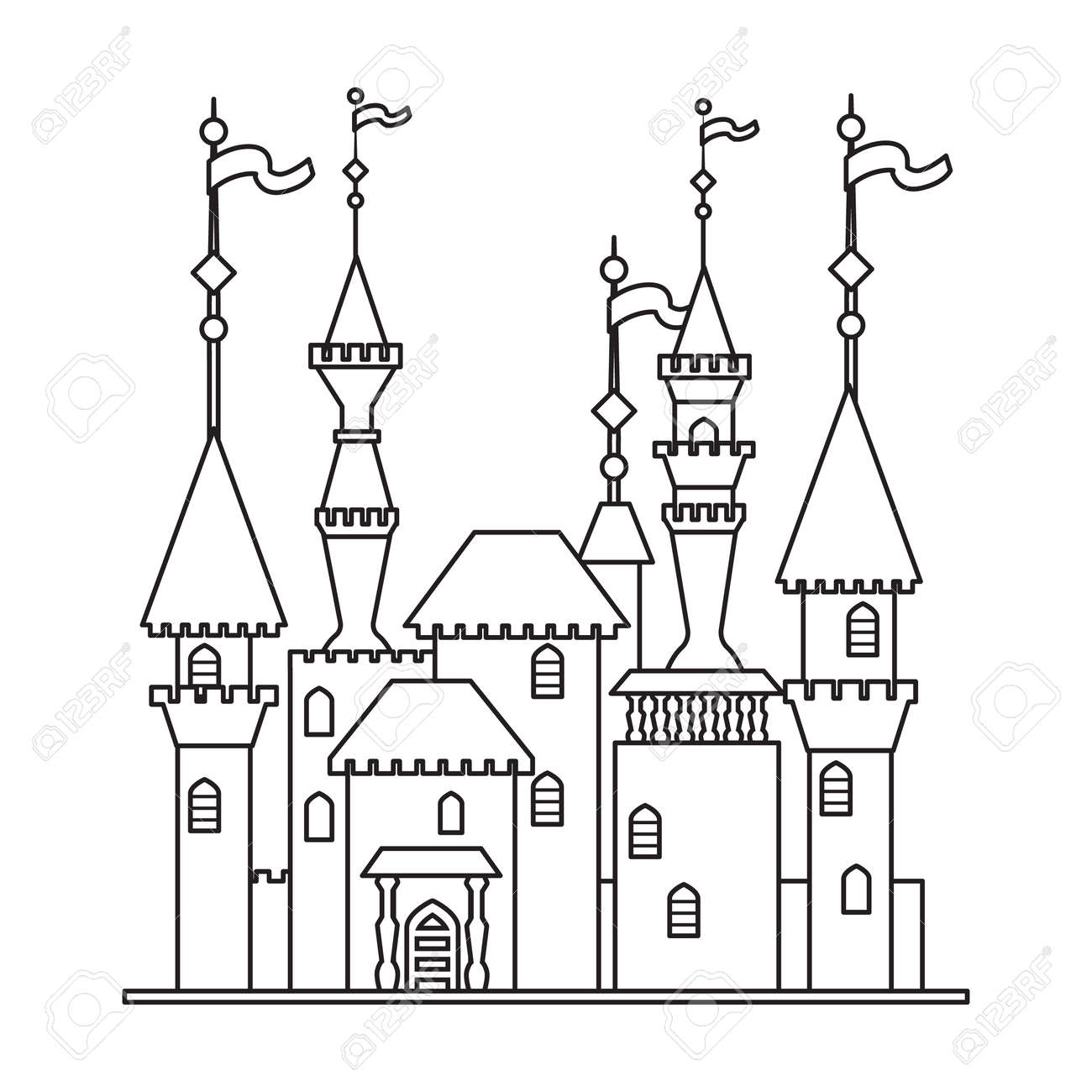 Castle tower vector outline icon. Vector illustration castle tower on white background. Isolated outline illustration icon of kingdom house. - 168841037