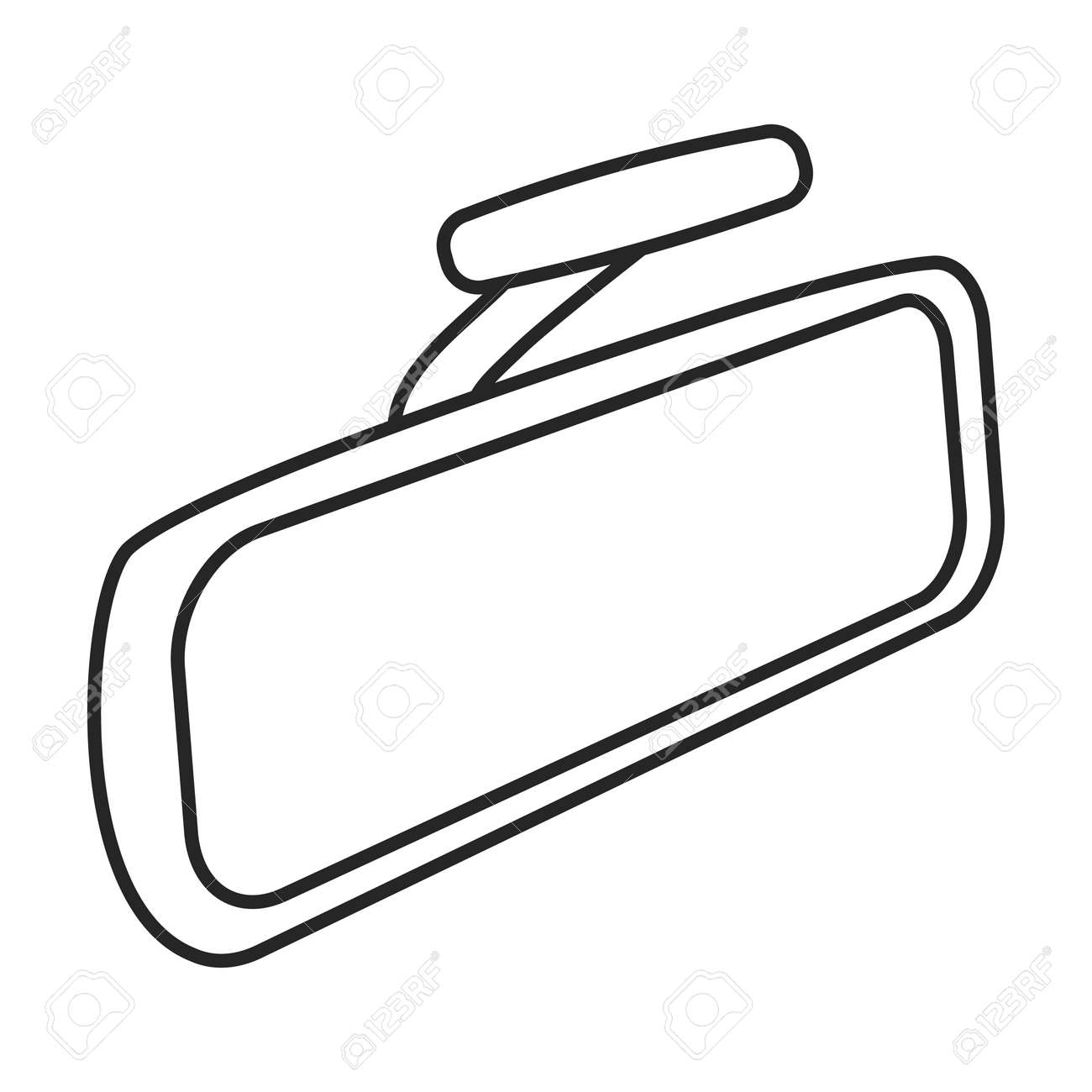 Mirror rear view car, vector outline icon. Vector illustration auto rearview on white background. Isolated outline illustration icon of mirror rear view. - 168841055