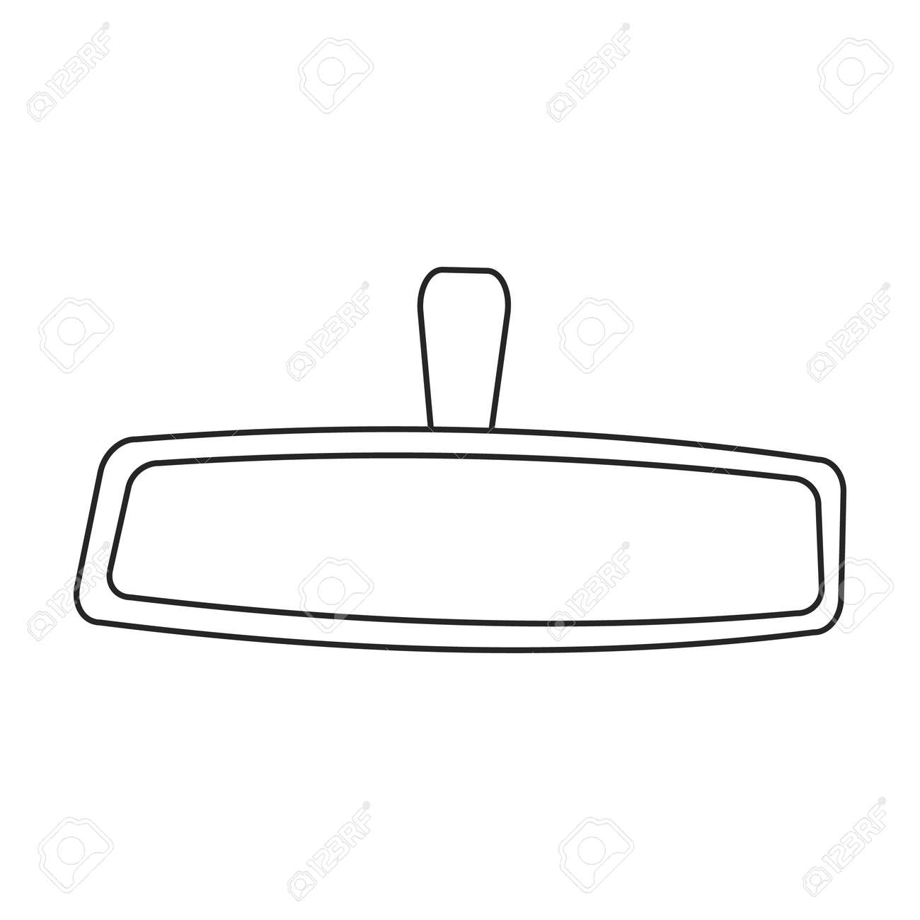 Mirror rear view car, vector outline icon. Vector illustration auto rearview on white background. Isolated outline illustration icon of mirror rear view. - 168841072