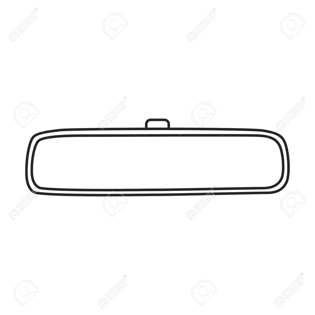 Mirror rear view car, vector outline icon. Vector illustration auto rearview on white background. Isolated outline illustration icon of mirror rear view. - 168841071