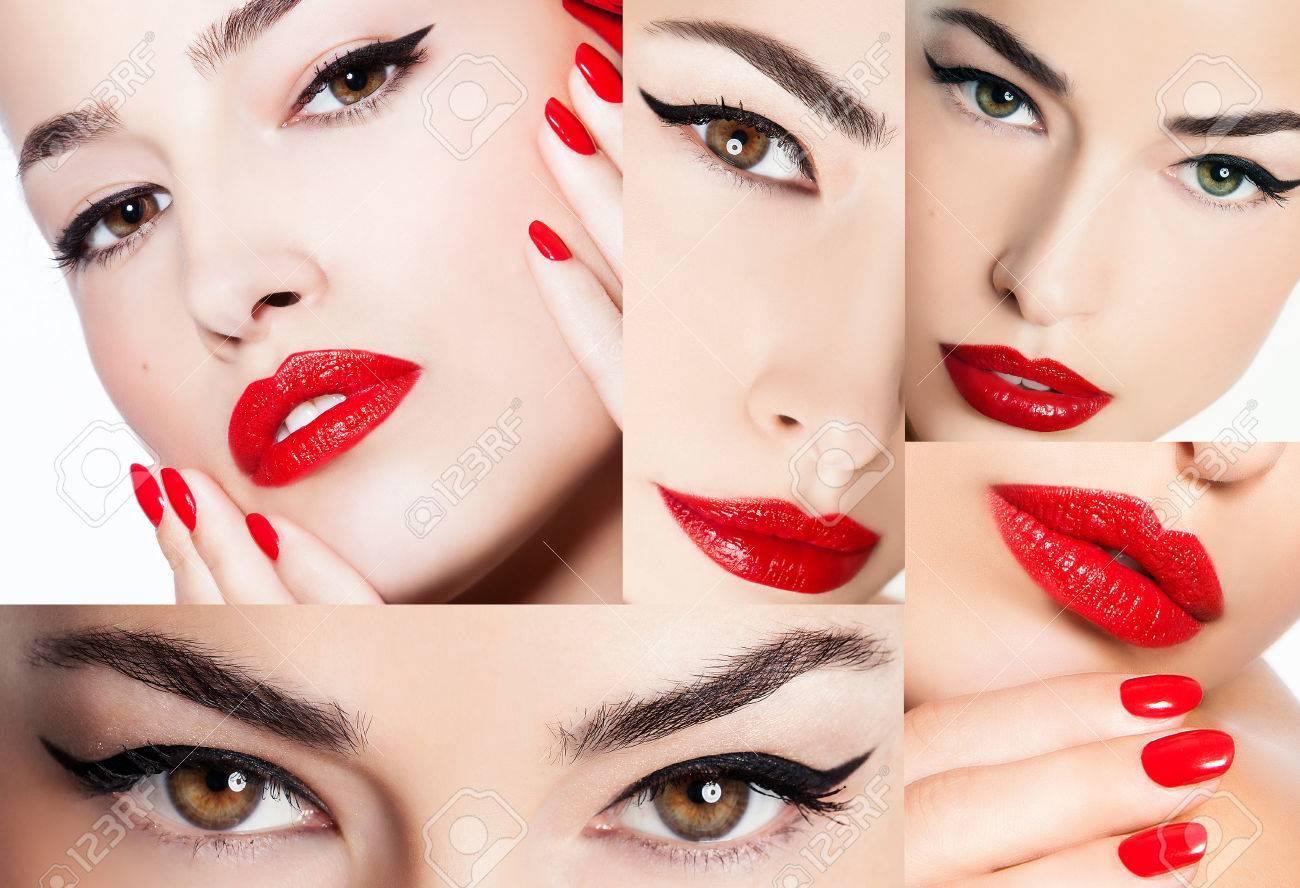 Schöne Junge Frau Mit Augen Make Up Und Roten Lippen Make Up