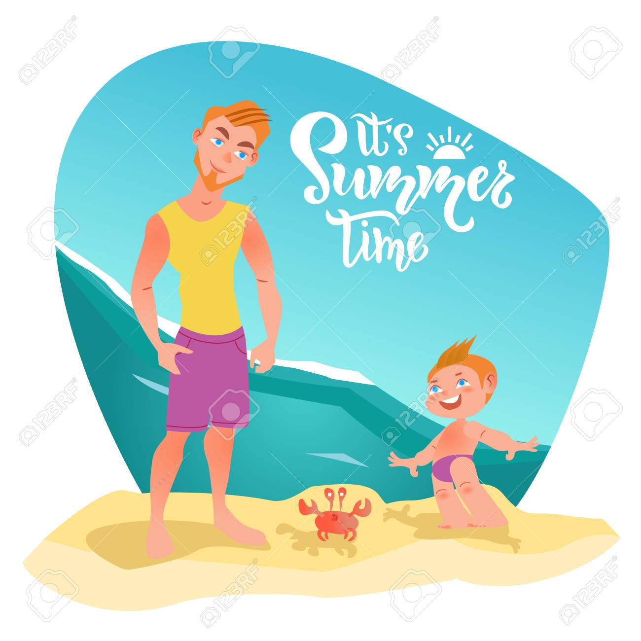 Family Characters On The Beach Its Summer Time Lettering Quote