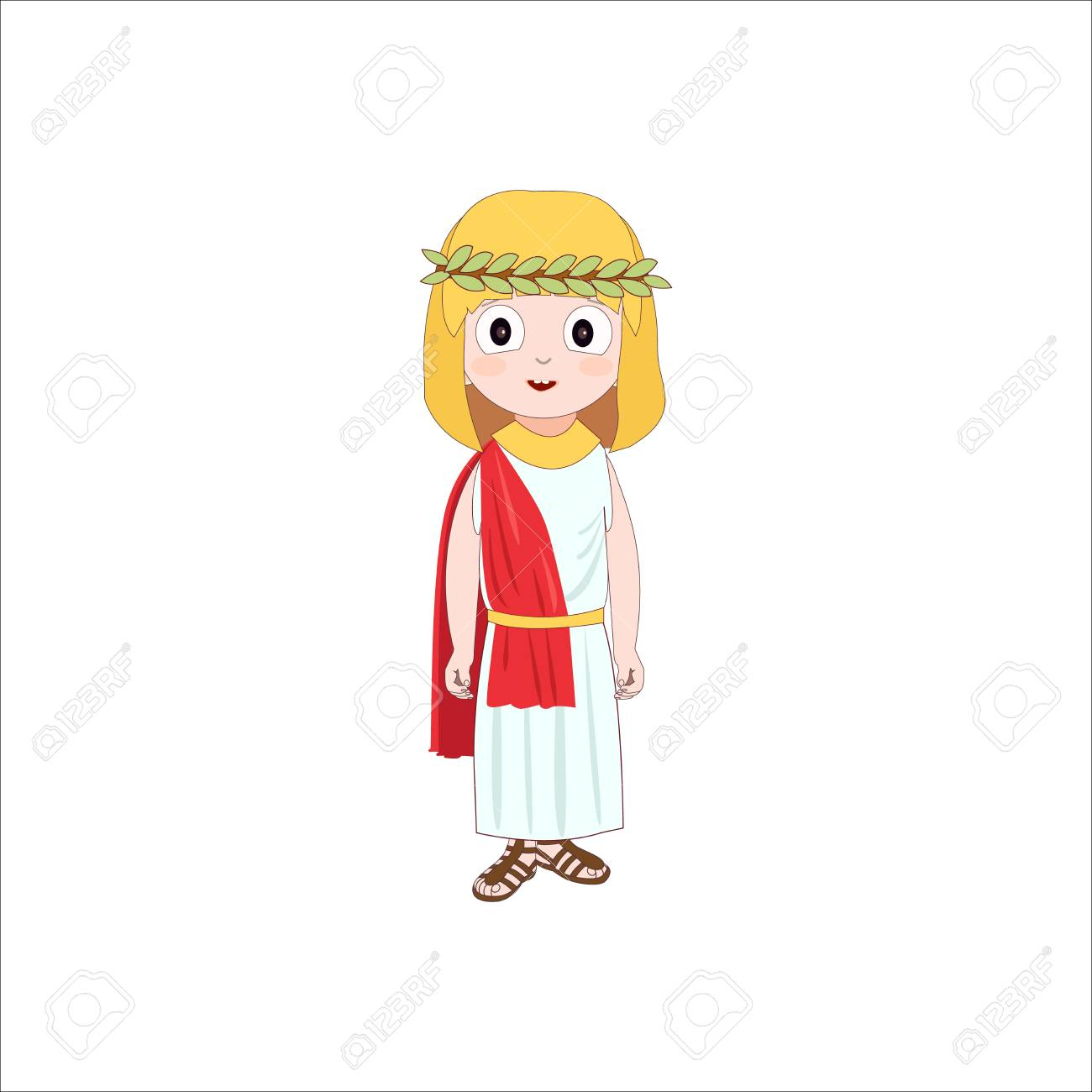 Ancient Rome Cartoon Character Of Girl Wearing Traditional Costume ...