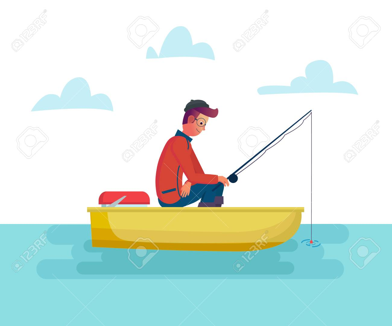 Fisher Man Holding Fishing Rod In The Boat On Lake Or Sea Season Royalty Free Cliparts Vectors And Stock Illustration Image 124960810
