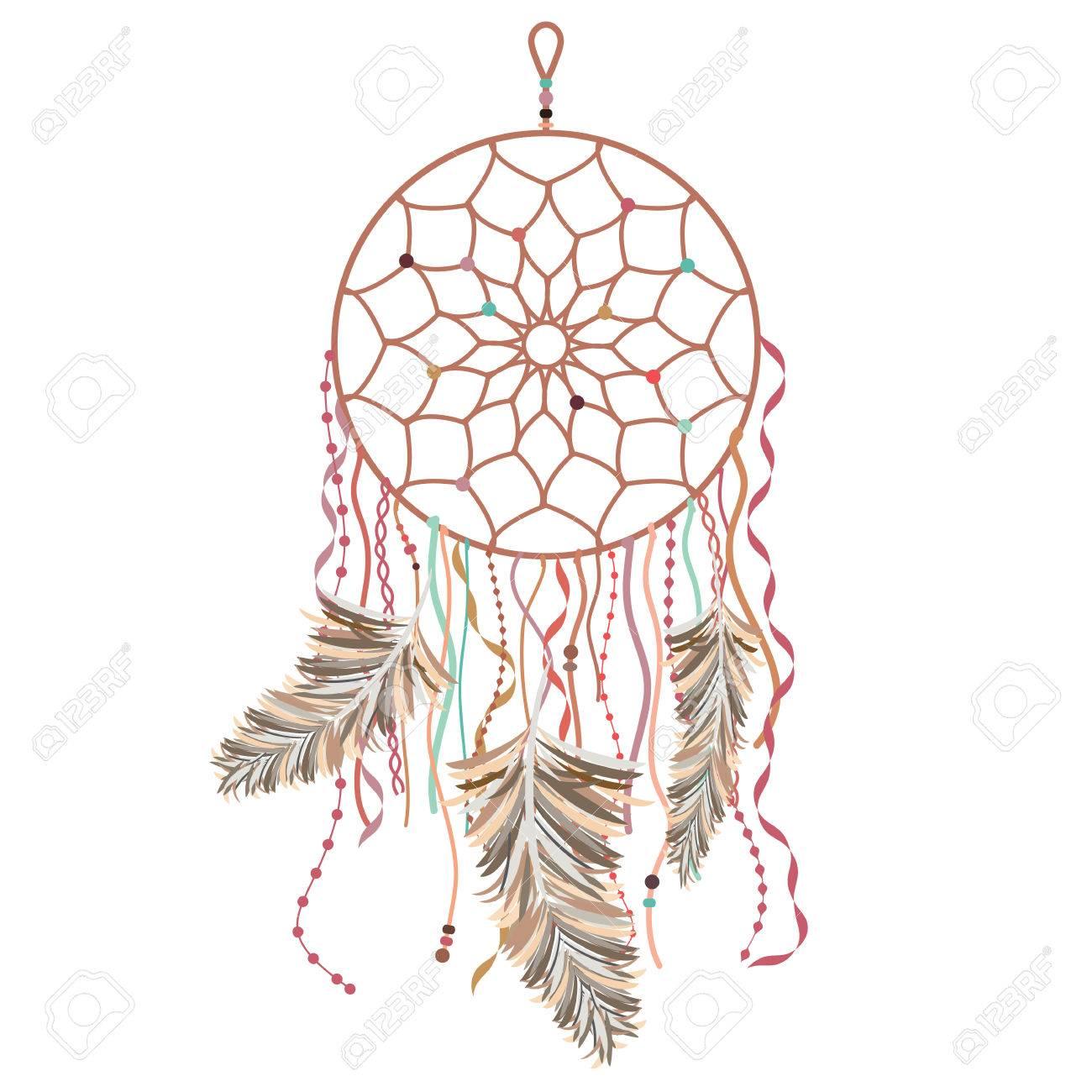 Illustration Vectorielle De Capteur De Reve Decore Dans Un Style Tribal Avec Plumes Perles En Rose Pale Et Marron Clip Art Libres De Droits Vecteurs Et Illustration Image 60720365