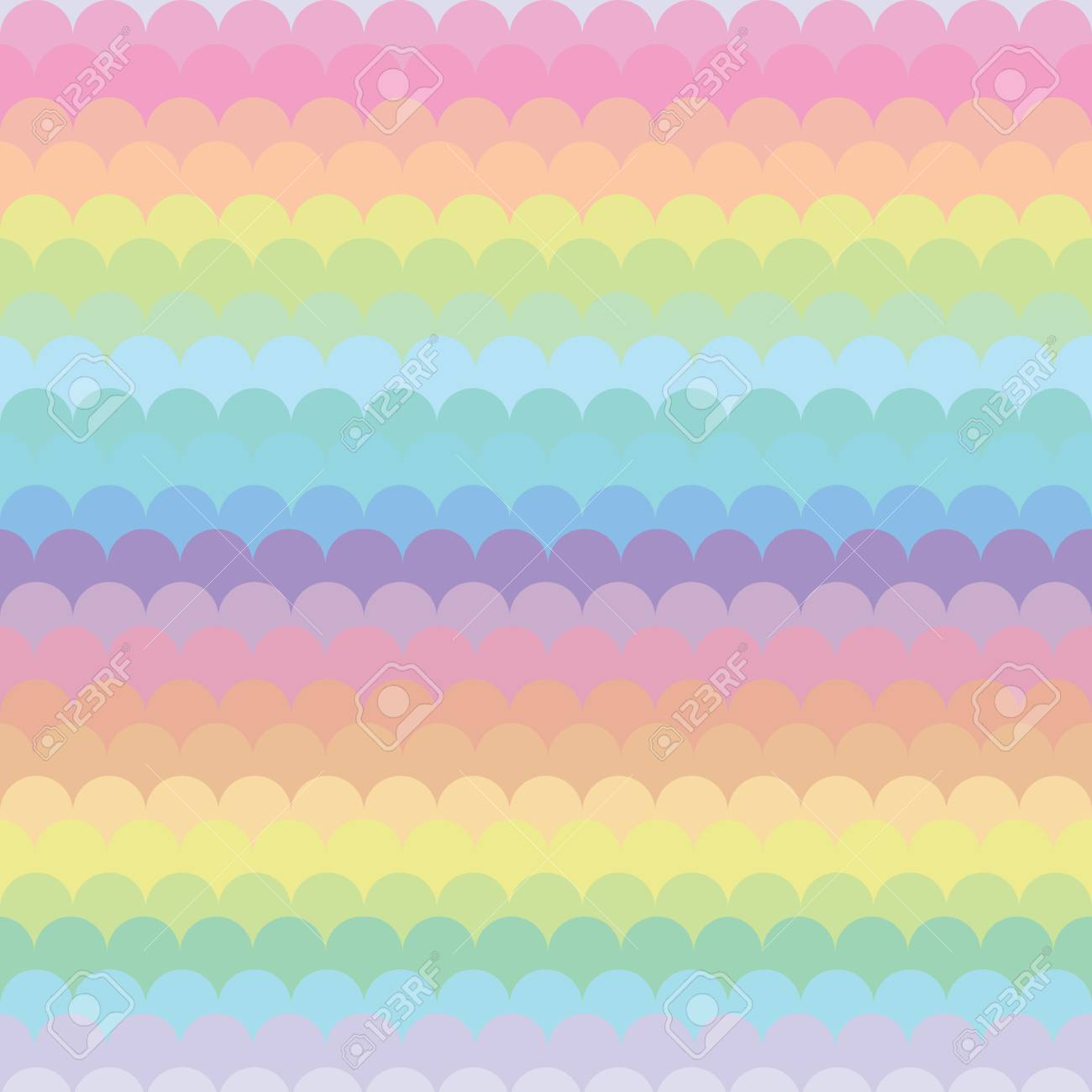 Vector Illustration Pastel Rainbow Horizontal Stripes And Waves