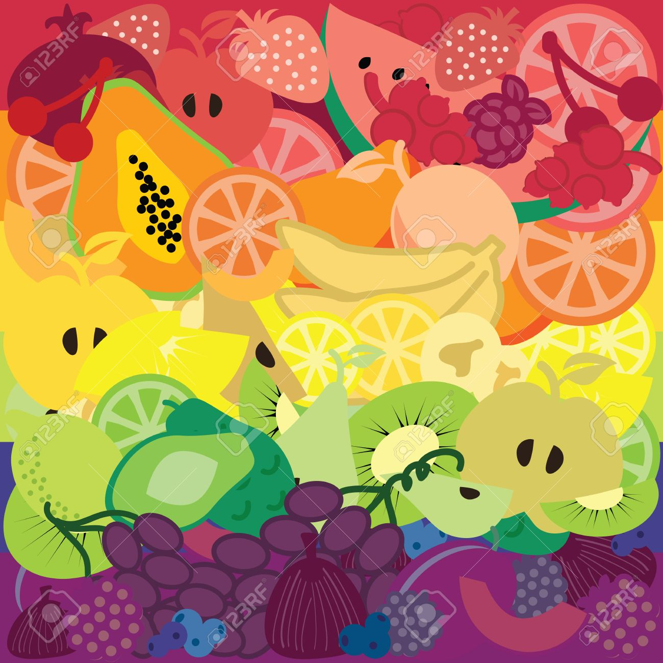 Vector Illustration Fruits Devided By Color And Arranged In Royalty Free Cliparts Vectors And Stock Illustration Image 61193489