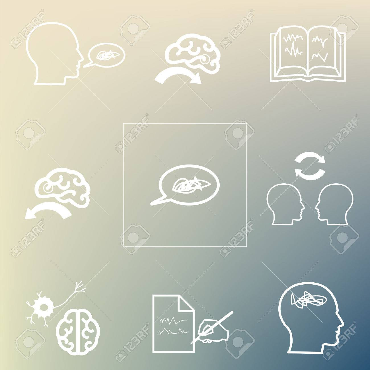 vector illustration / aphasia symptoms / speech and language disorders icons on the blurred background - 61192934