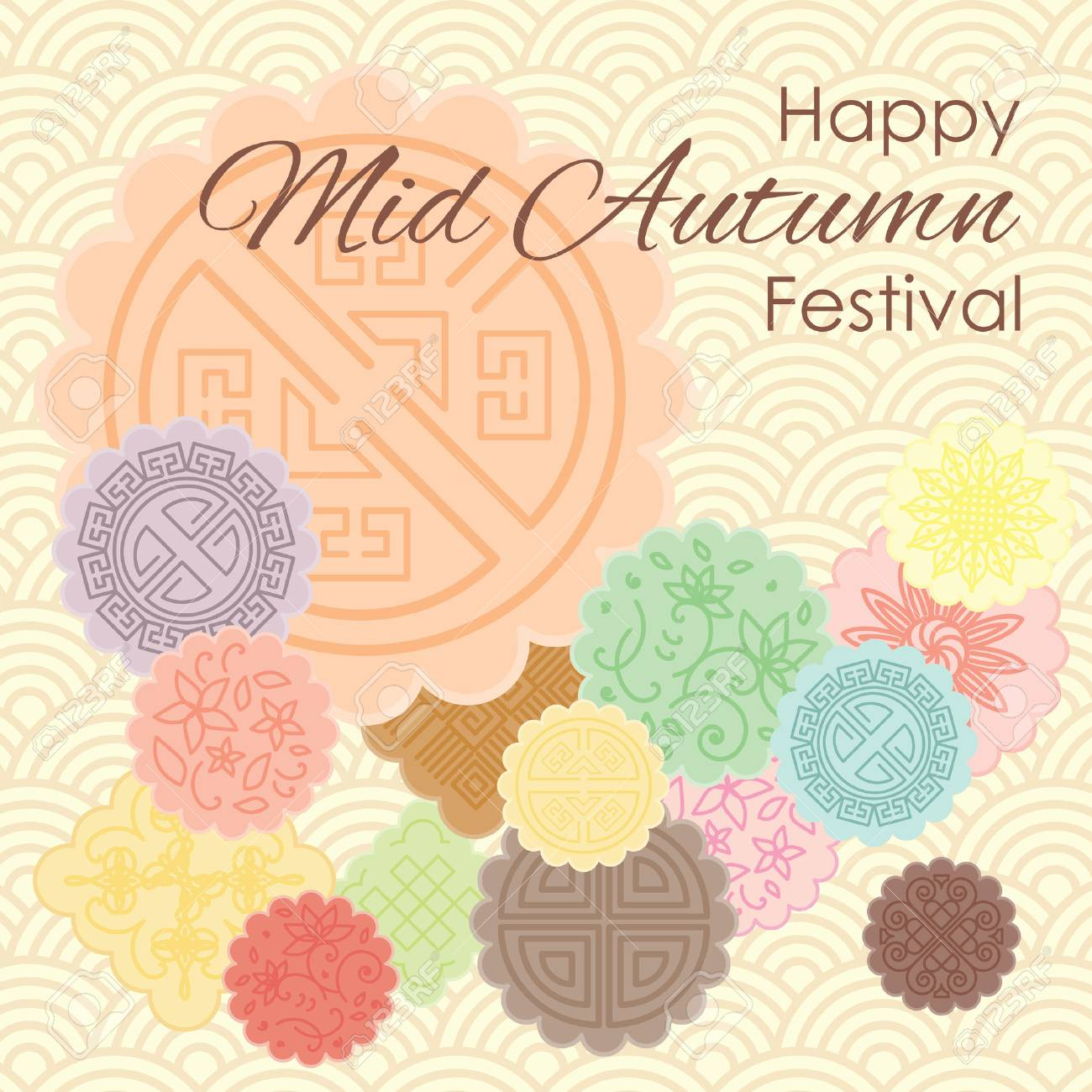 Vector illustration of greeting card for Mid Autumn Festival with traditional mooncakes and pastel ornamental background. - 85187600