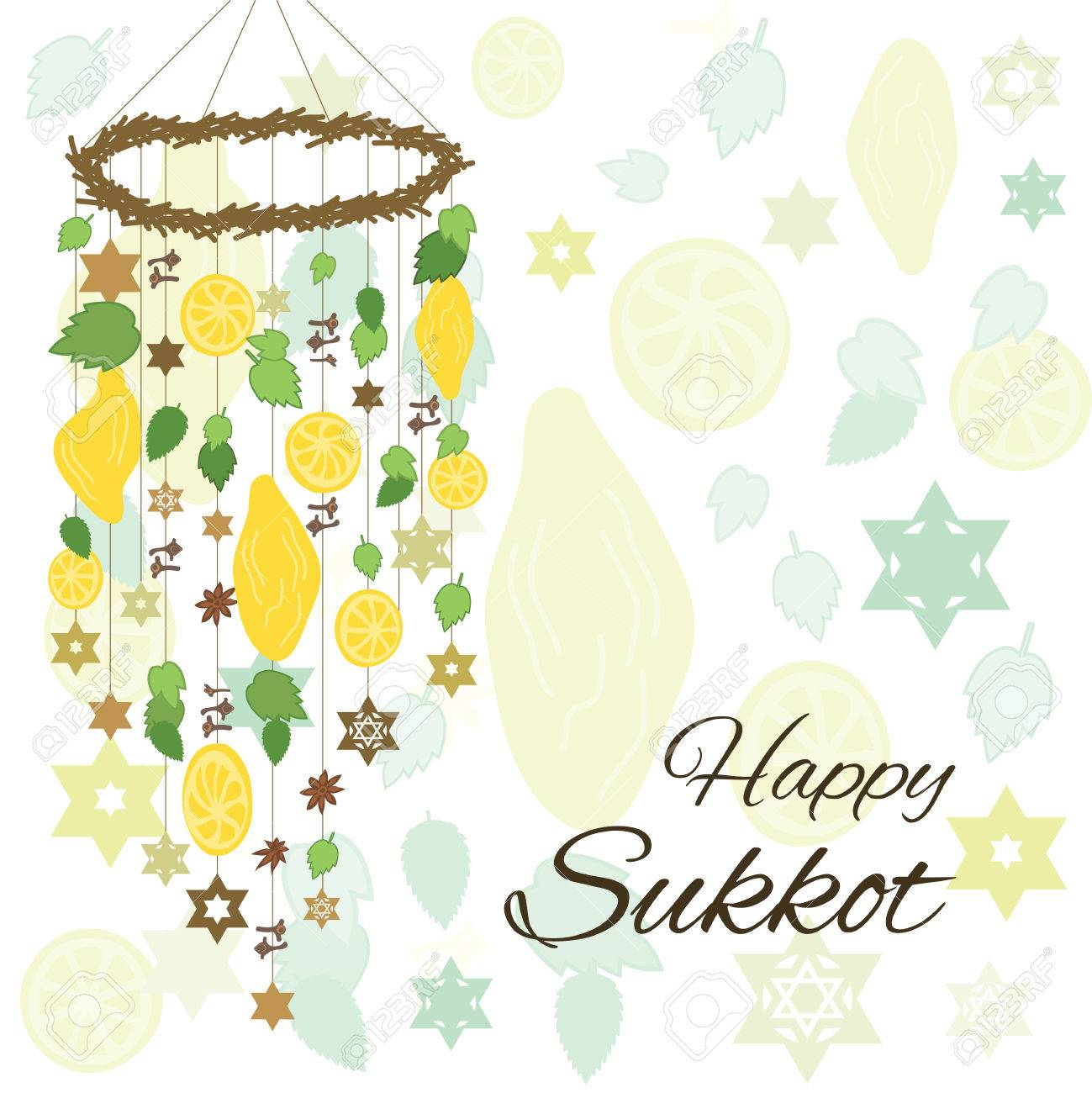 Vector Illustration Of Greeting Card For Sukkot Jewish Holiday With
