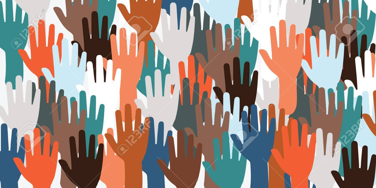 horizontal vector illustration for big number of hands voting and waving for election concert or meeting as website banner background - 85334889
