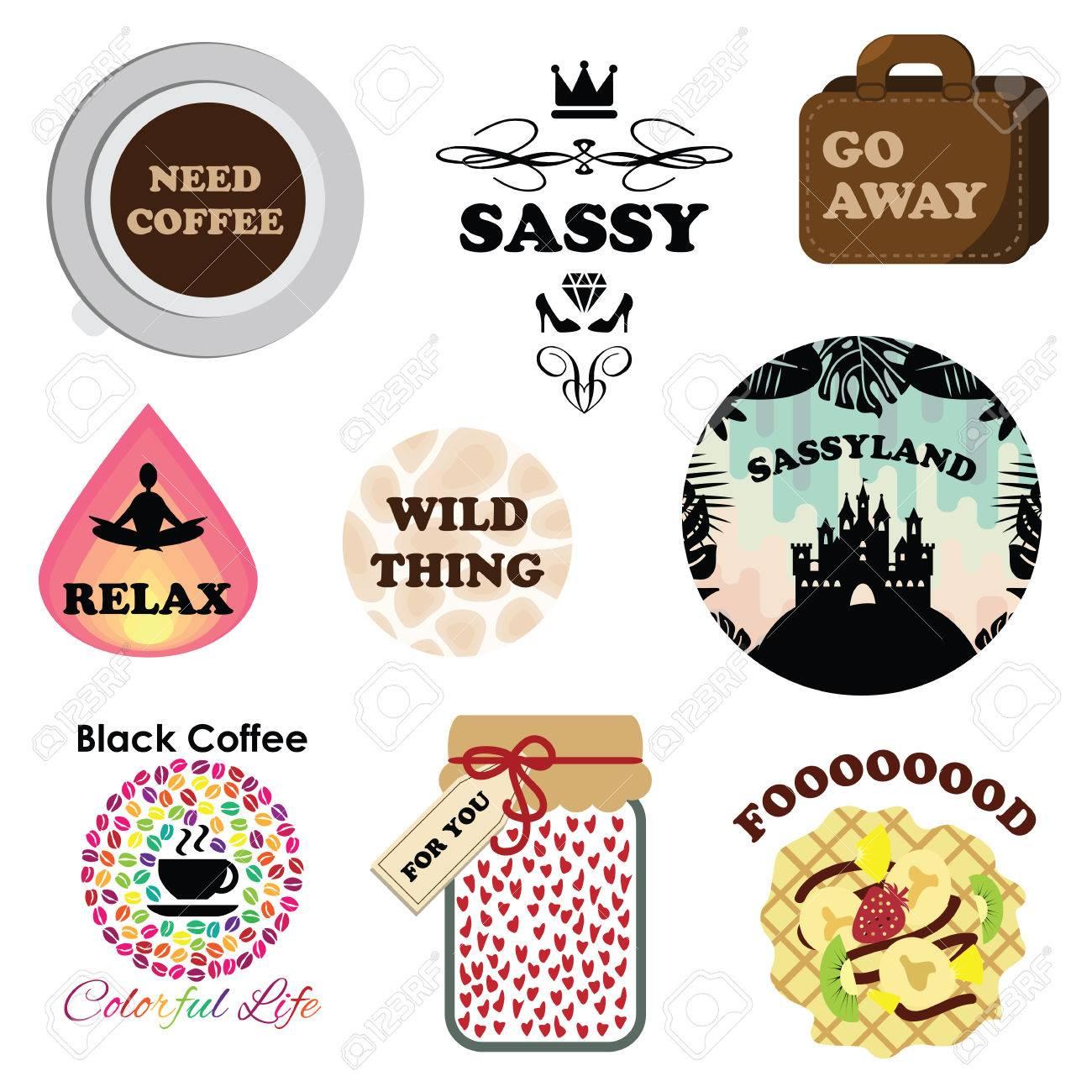 vector illustration for modern funny stickers for messenger or