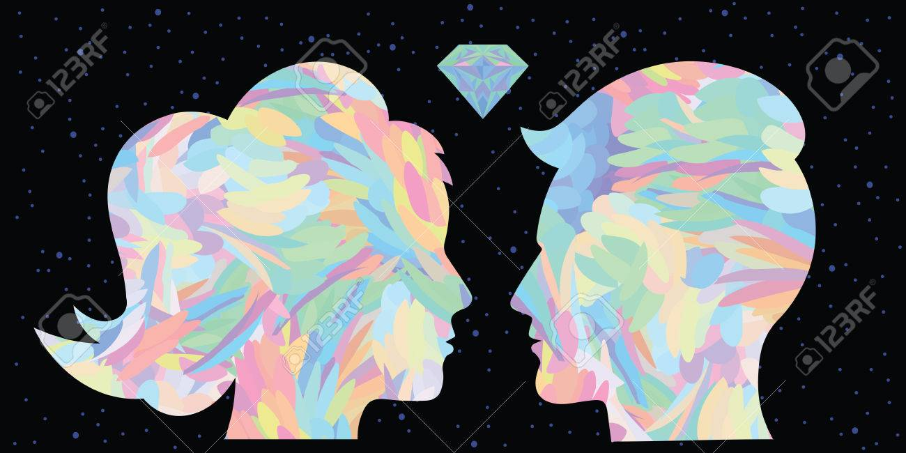 vector illustration of colorful holographic rainbow couple on the dark sky background for cosmic spiritual love concept - 85406709