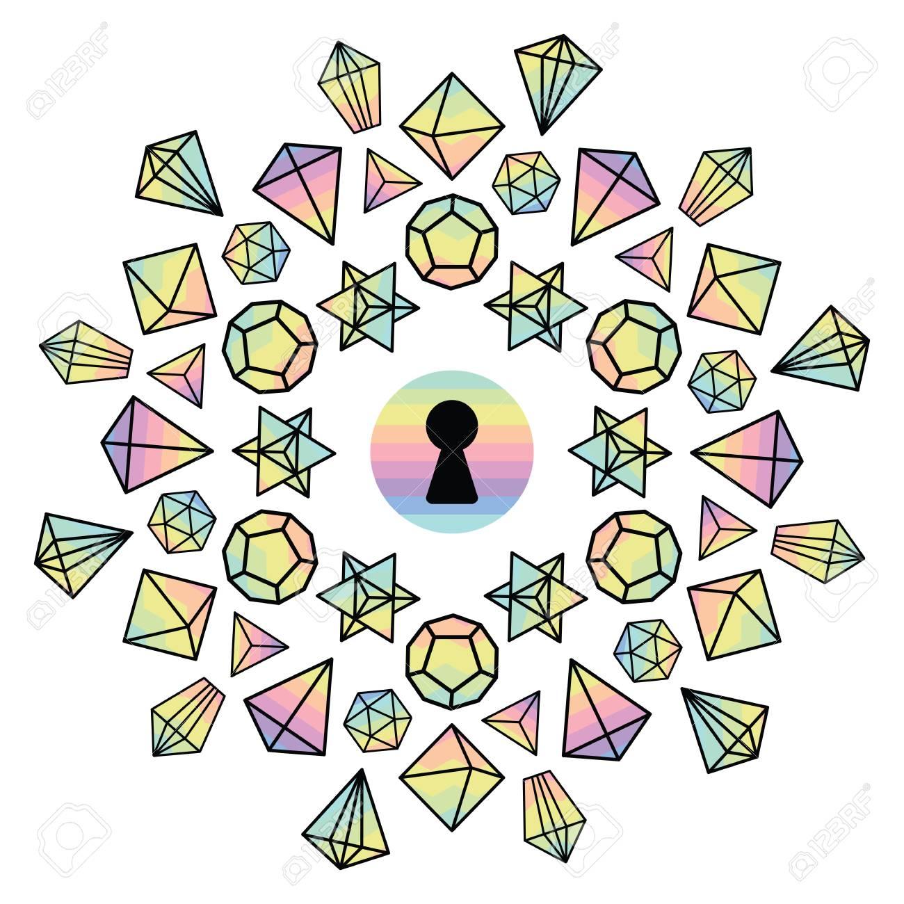 Ilustración Vectorial Para Coloridas Gemas Y Cristales Holográficos ...