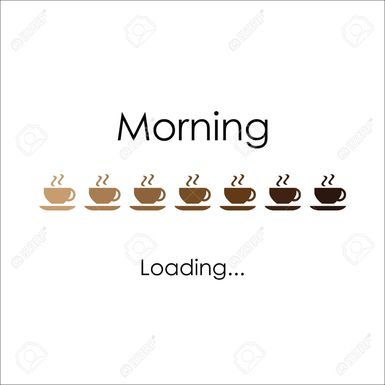 Morning with coffee, vector art for banner, poster, crad. Loading coffee lettering - 87062368