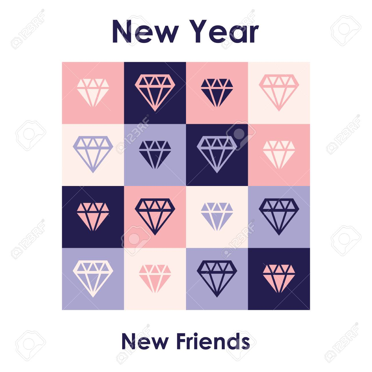 Carte De Voeux De Nouvel An Universel Avec Nouvelle Année Pour Les Nouveaux Amis Citation Drôle Ironique Liée à La Phrase Que Les Diamants Sont Les