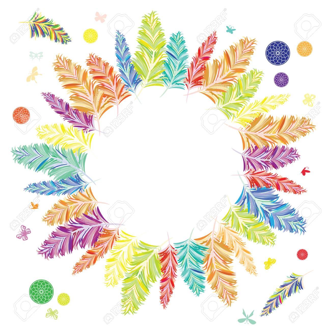 Ilustración Vectorial De Plumas De Colores Del Arco Iris En El ...