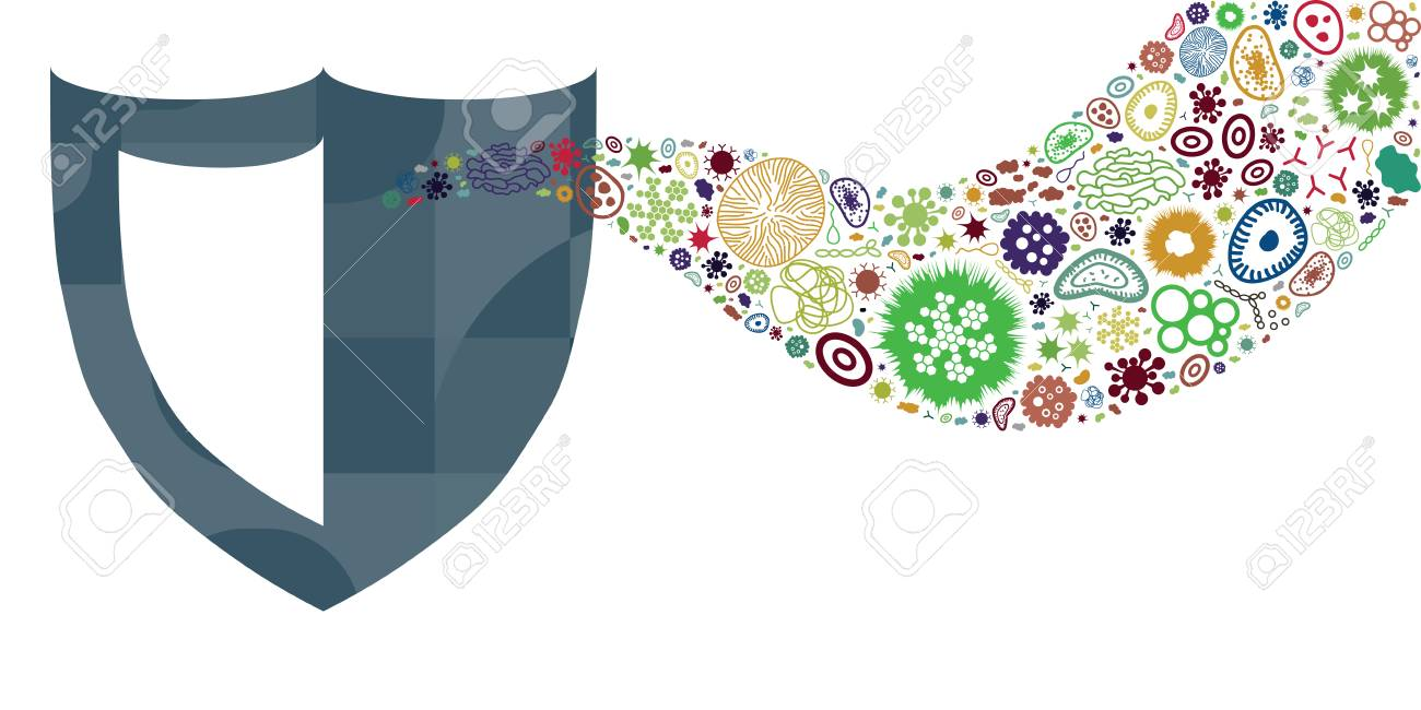 vector illustration of bacteria and pathogens in flow or stream design for health protection concepts with shield - 102568382
