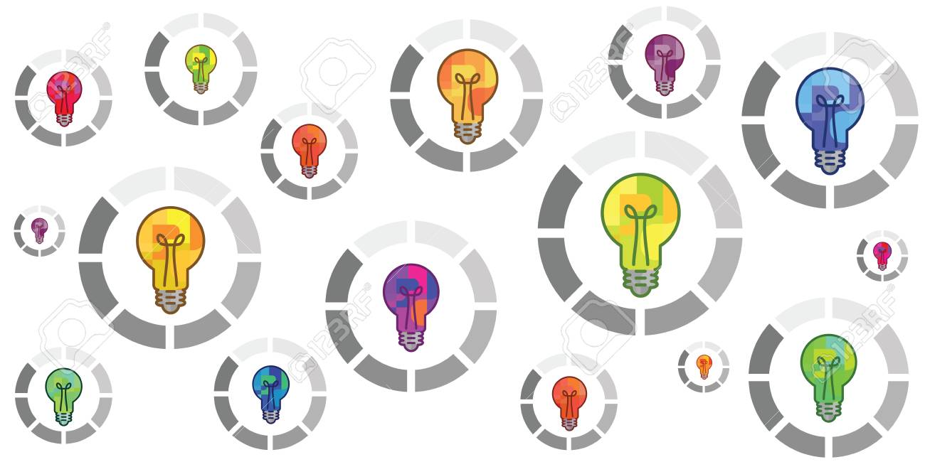 vector illustration of colorful bulbs with round loading bar for creation process concepts - 102568569