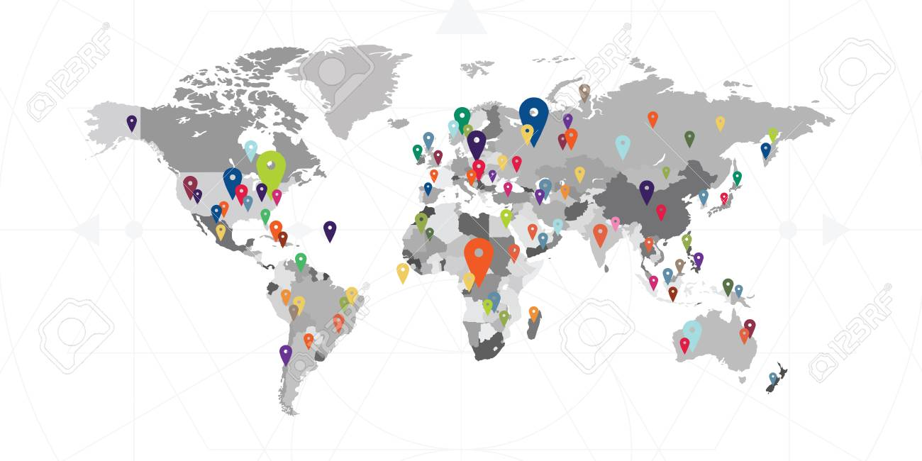 World Map With Pins Vector Illustration For World Map With Locations And Activities