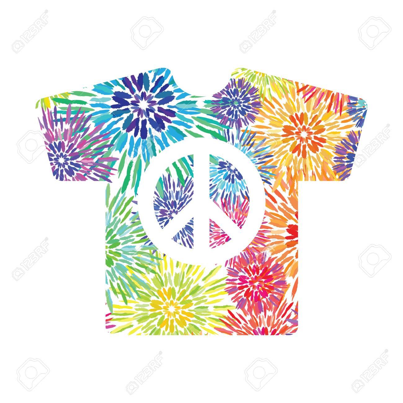 comprare on line acquisto speciale tra qualche giorno Vector Illustration / Tie Dye Design T-shirt With Peace Symbol ...
