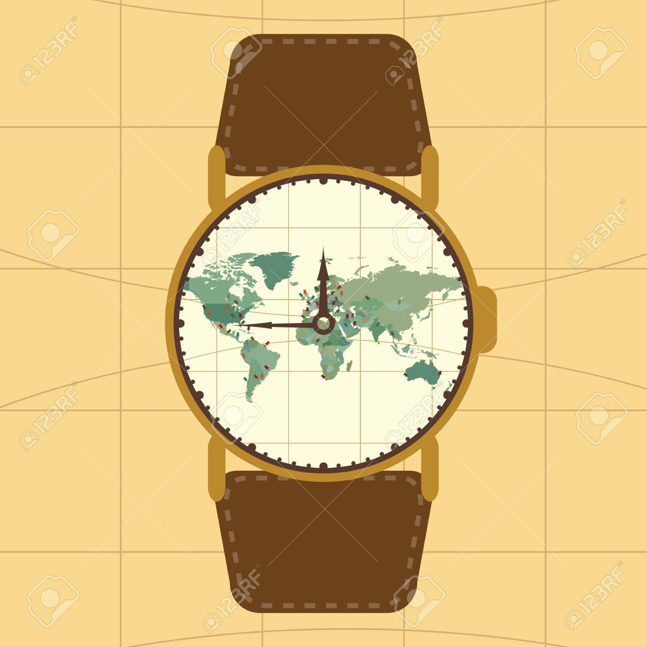 Vector illustration watch concept for travel blog or touristic vector vector illustration watch concept for travel blog or touristic agency world map with pins in retro style vintage colors gumiabroncs Image collections