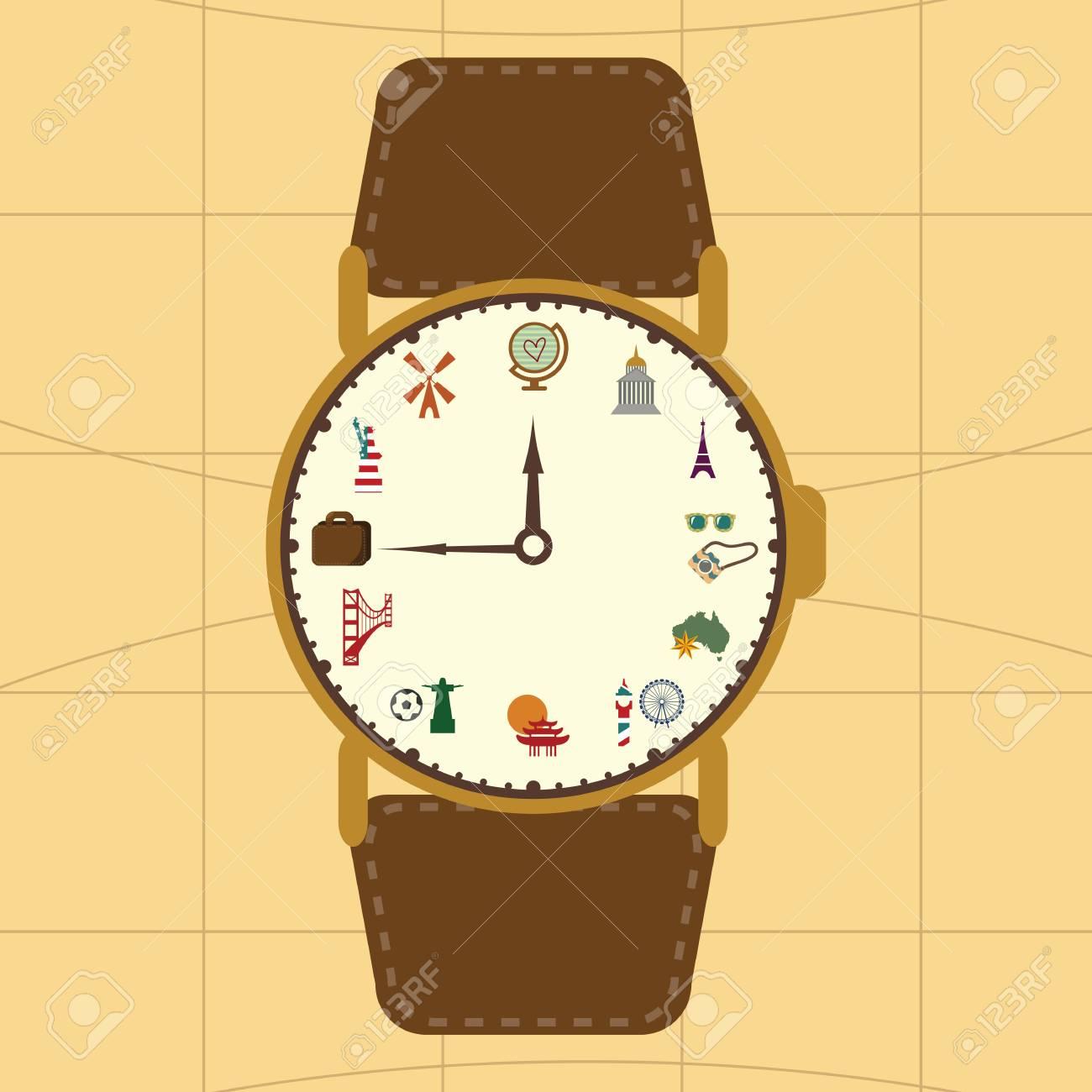 Blog Around Clock >> Vector Illustration Vintage Colors Clock Concept For Travel