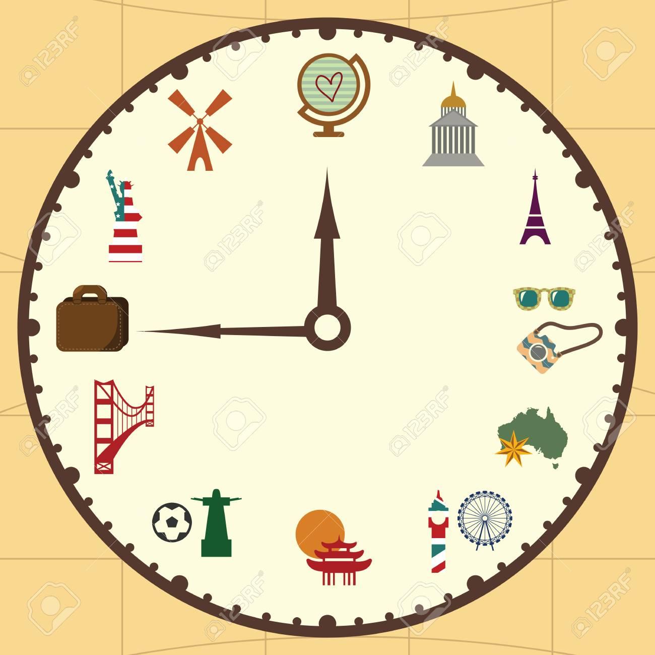 Blog Around Clock >> Vector Illustration Clock Concept For Travel Blog Or Touristic