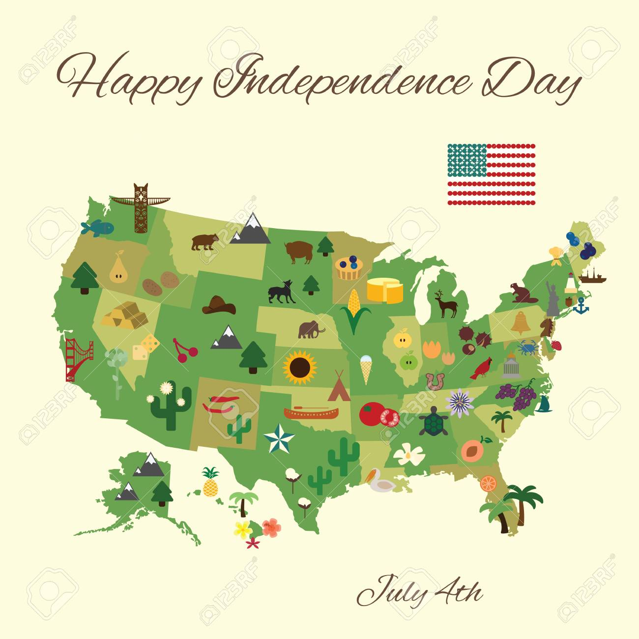 Vector Illustration Happy 4th Of July Grreting Card States