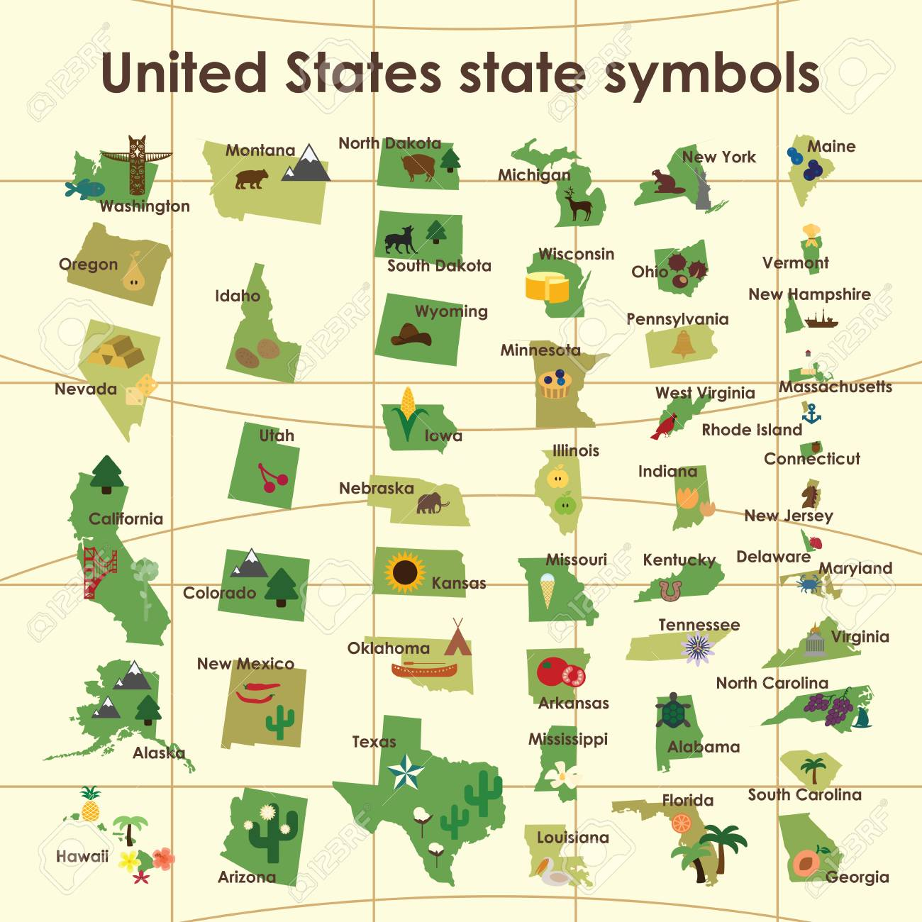 The Map Of America States.Vector Illustration United States Of America Symbols On The