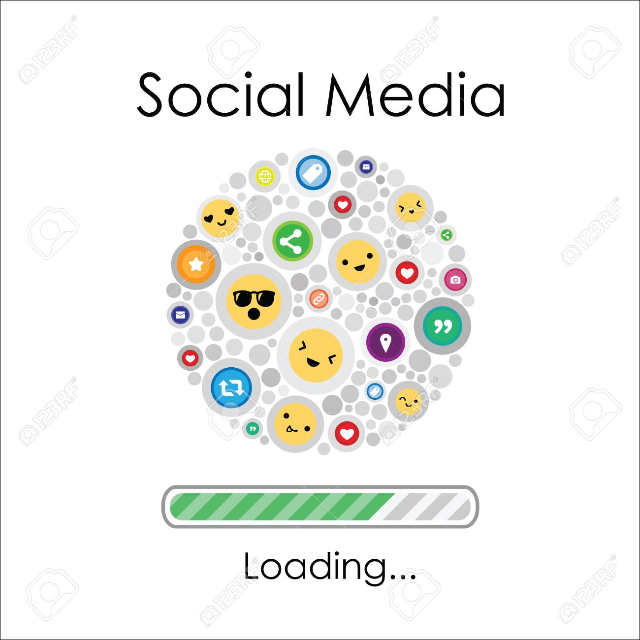 vector illustration of social media emoji and icons and loading