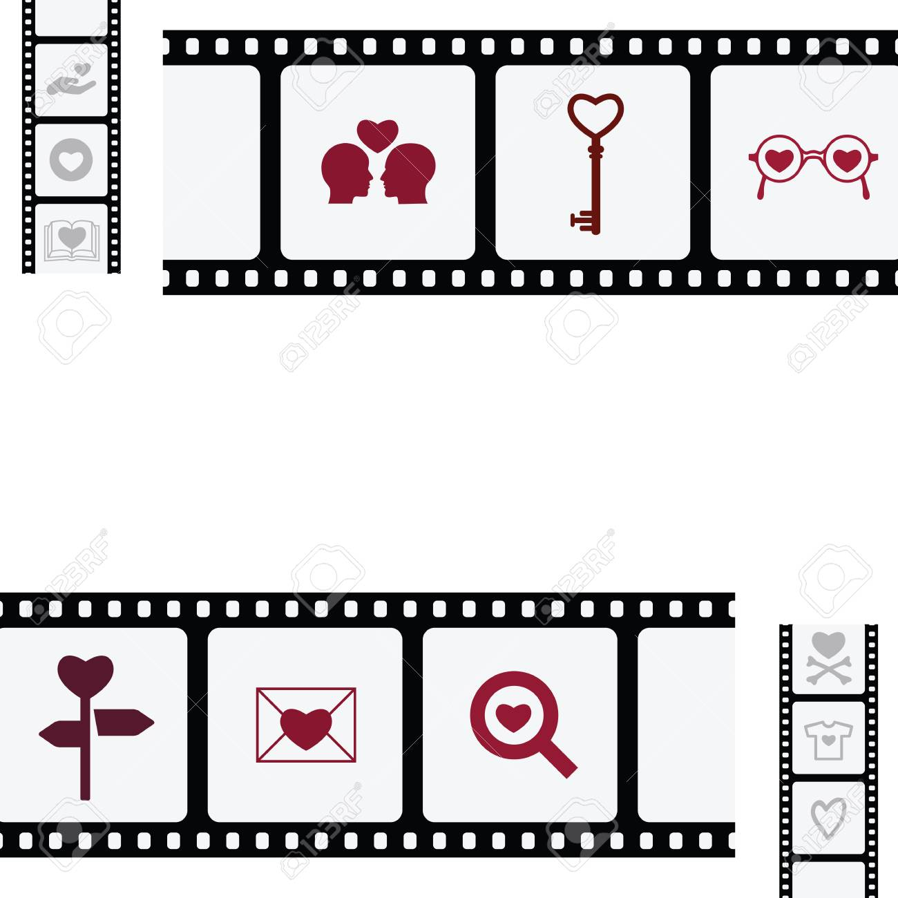 vector illustration of film tape with hearts for romantic movie