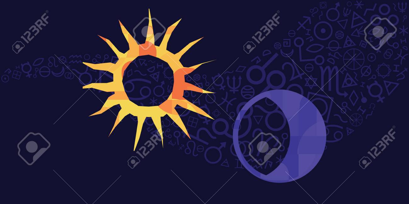 vector illustration of sun and moon amulets and spiritual symbols