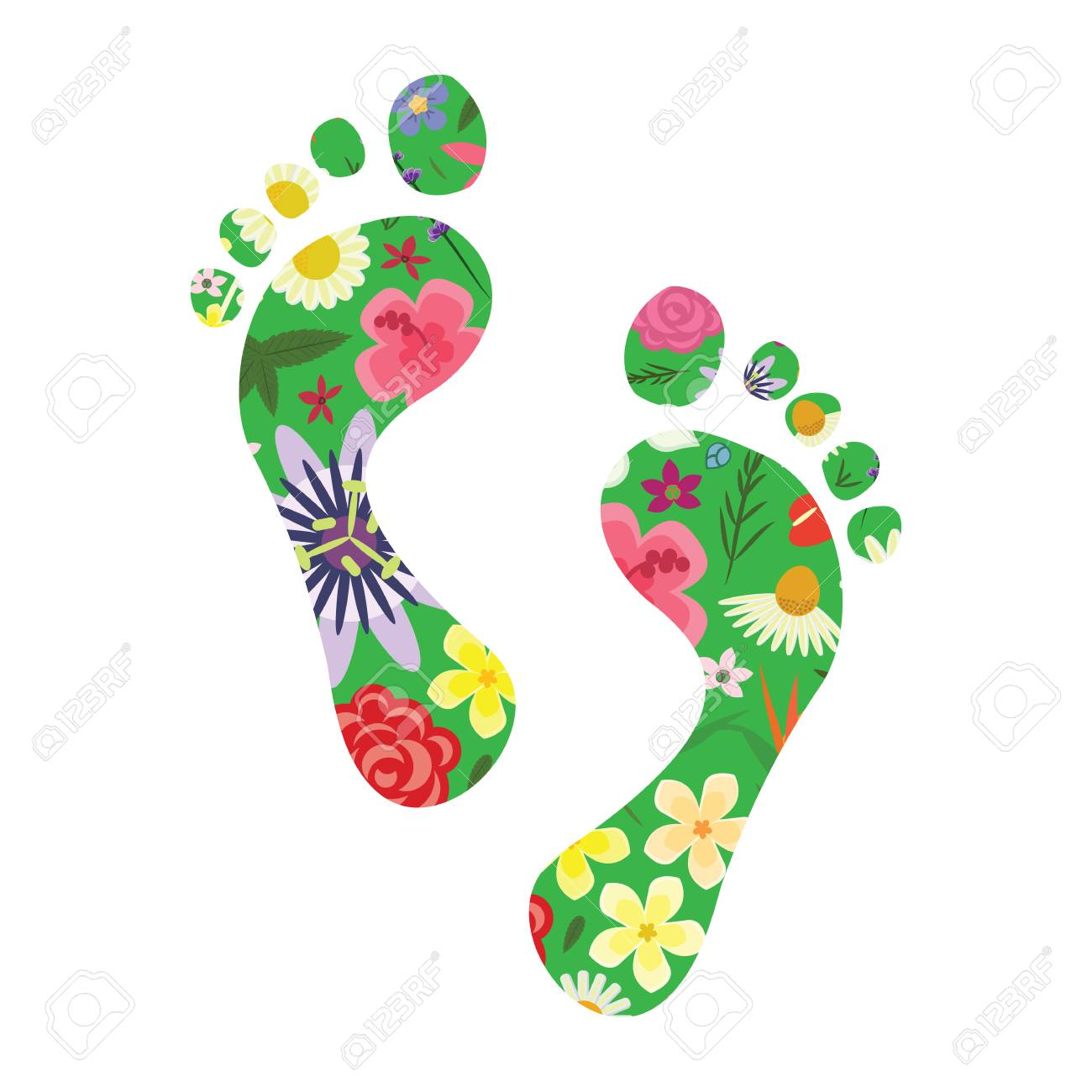vector illustration of footprints with plants and flowers for nature appreciation and sustainable urban management concept - 120178611