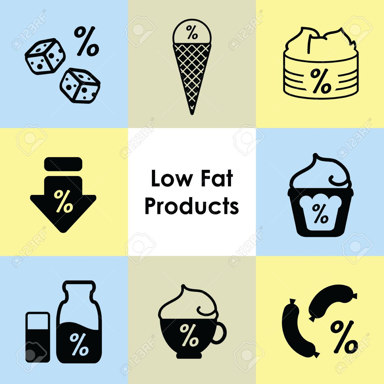 ¬vector illustration of low fat products icons - 149755332