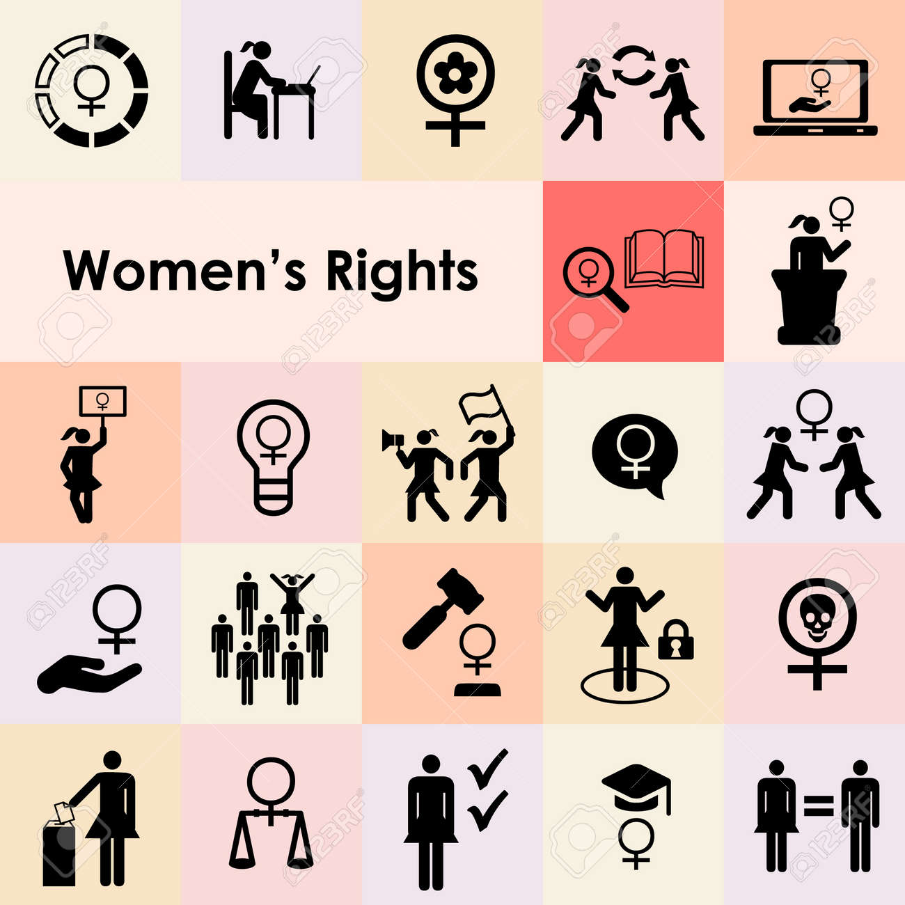 vector icons set for women rights and feminist issues icons set and emblems - 168547546
