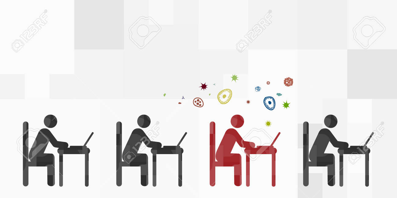 vector illustration of working people group and one infected person spreading bacteria - 168991416