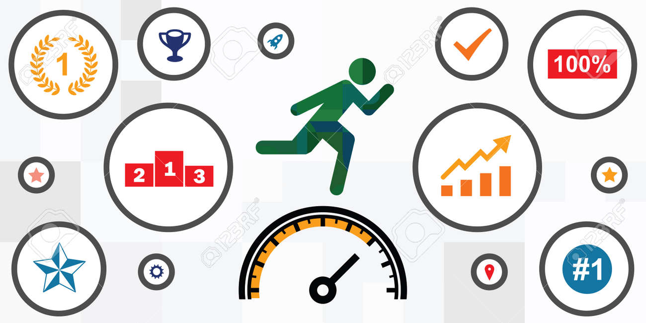 vector illustration of running person and speedometer for productivity and moving fast - 169022785