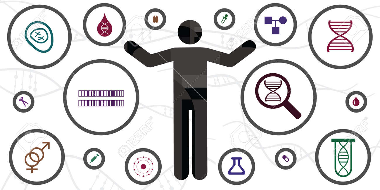 vector illustration of microscopic investigation of human DNA body and chromosome icons - 169022805