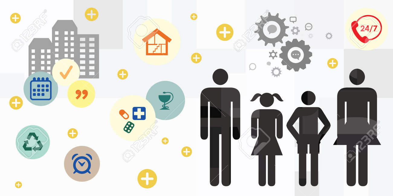 vector illustration with family members and basic needs for household and lifestyle - 169022822