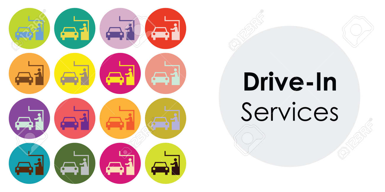 vector illustration of drive in services with colorful icons grid - 169022824