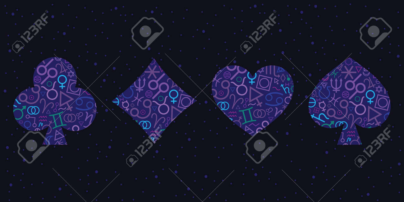 vector illustration of blue four card suit with mystic symbols for fortune telling visuals - 169022826