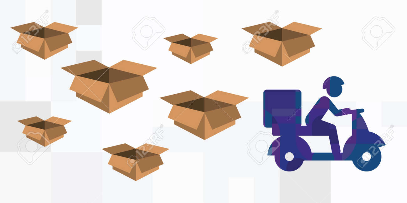vector illustration for goods delivery service with courier carrying boxes on scooter - 169022831