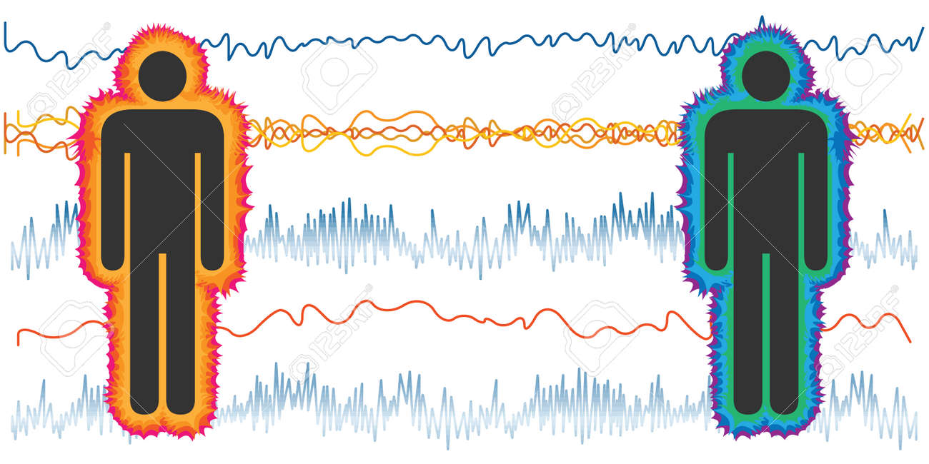 vector illustration of couple and heart electric waves for coherent and incoherent body - 169022833