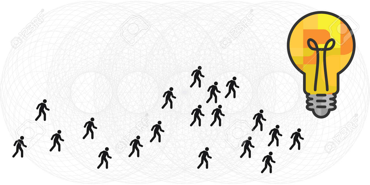 vector illustration of lightbulb and people following same idea concept - 169022834