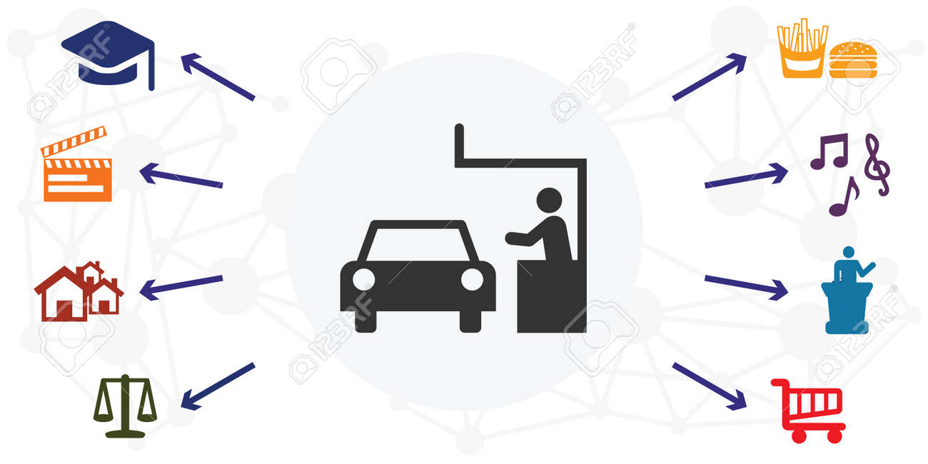 vector illustration of drive in services with colorful icons grid - 169022836